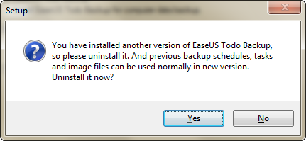 Uninstall another Version of EaseUS Todo Backup