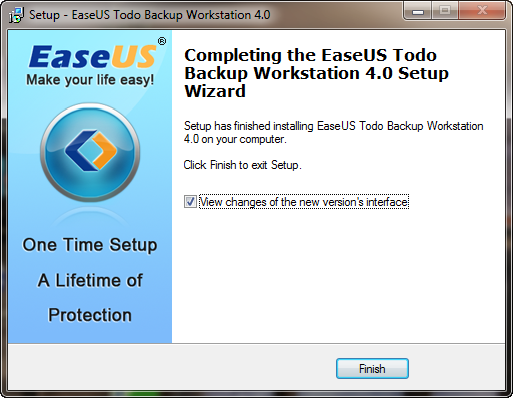 Completing the EaseUS Todo Backup Worstation 4.0 Setup Wizard