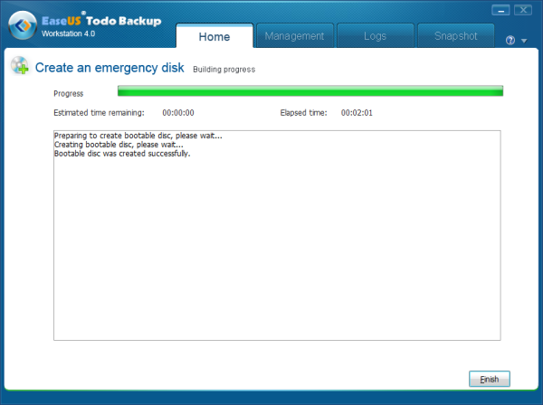Create Emergency Disk Finished
