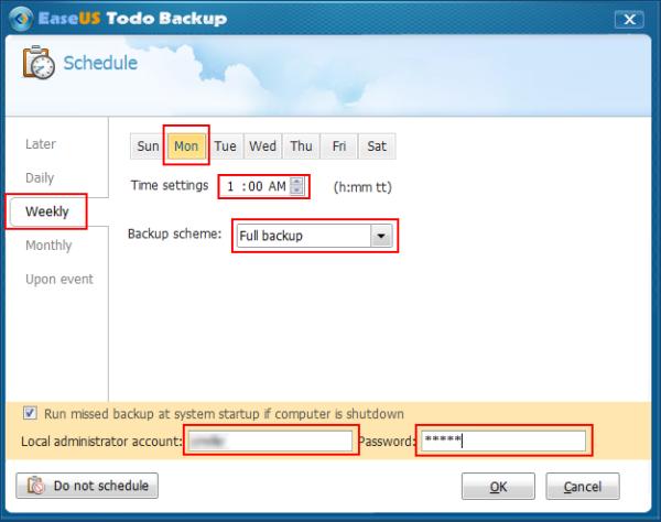 Configure Backup Scheduling