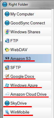Support for a number of different cloud storage providers