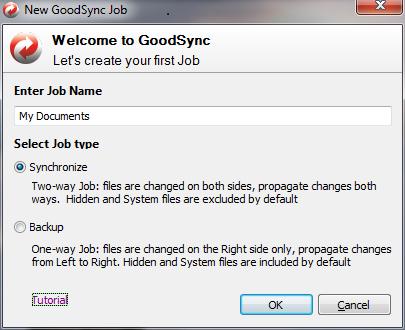 New GoodSync Job