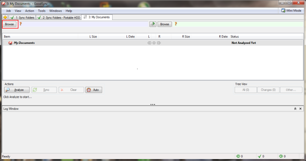 Browse button to begin configuration of the left side