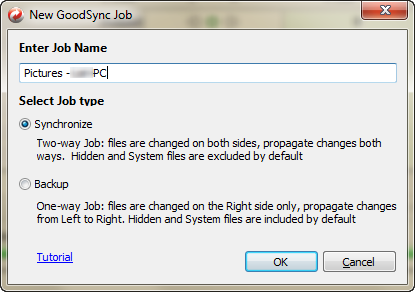 Create a New GoodSync Job for Pictures