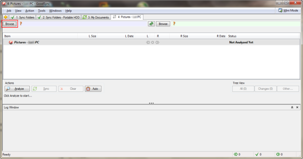 Configure the Left Side of the new Pictures Synchronization Job