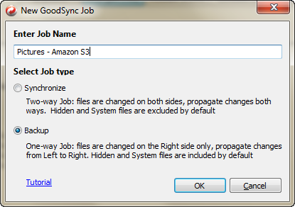 Create a New GoodSync Pictures Backup Jo