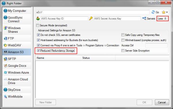 Select the Reduced Redundancy Storage option