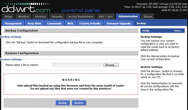 Administration – Backup Configuration