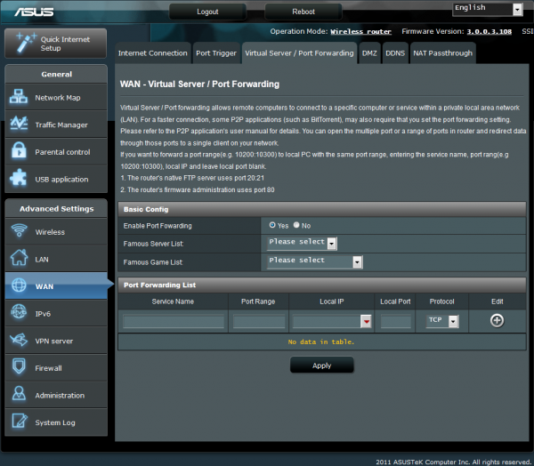 WAN – Virtual Server or Port Forwarding