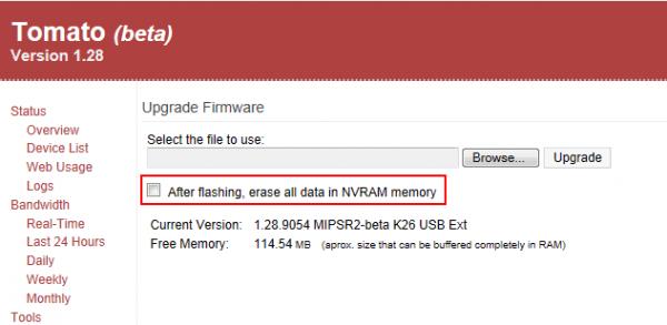After flashing, erase all data in NVRAM memory