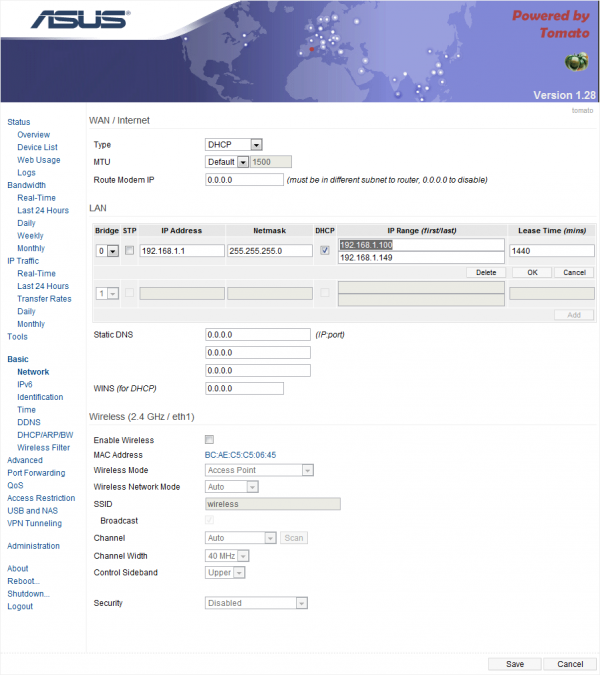 Check the DHCP option to enable it
