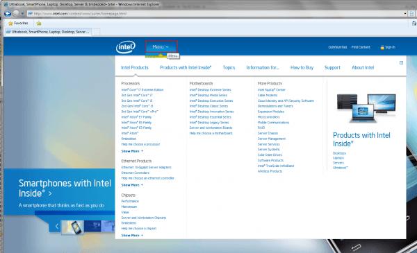 Intel – Home Page Menu