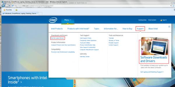 Intel – Support Menu