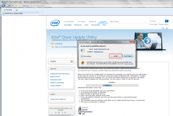 Intel – Install the Driver Update Utility